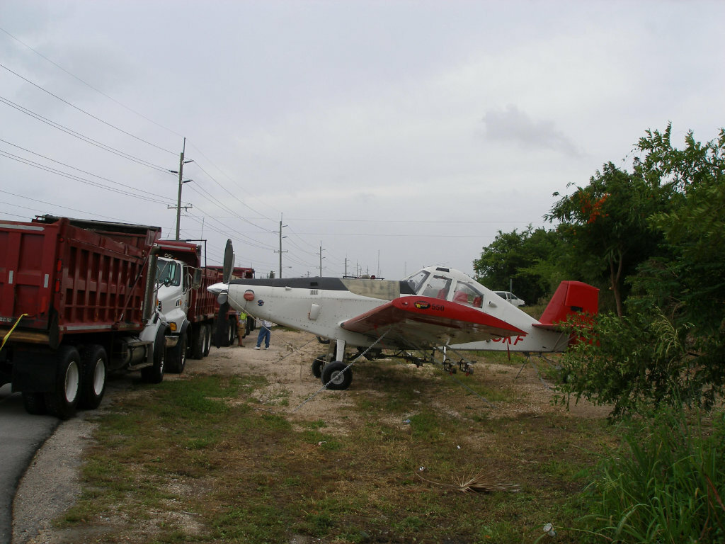 Plane tied down in Cayman before hurricane hit
